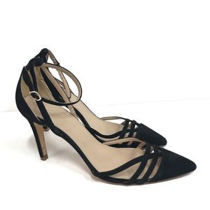 J. Crew Black Ankle Strap Made in Italy Heels
